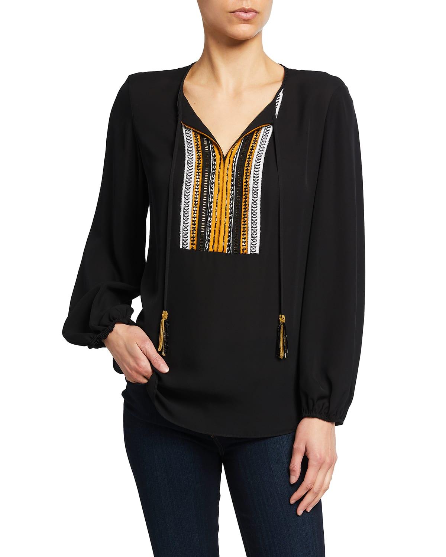Cora Long-Sleeve Tassel-Tie Silk Blouse