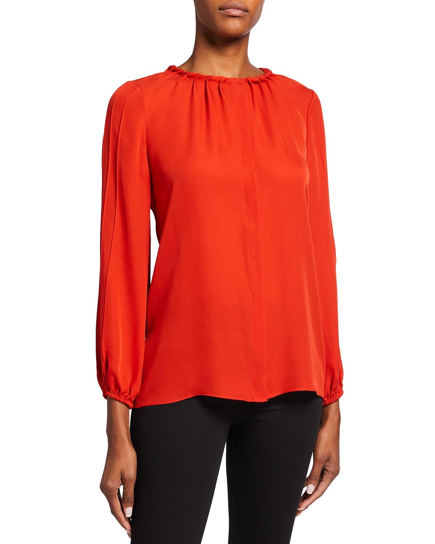 Maya Long-Sleeve Silk Blouse