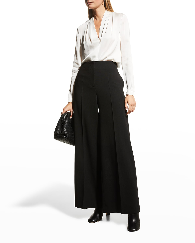 Nellie Pleated V-Neck Long-Sleeve Blouse