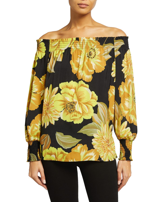 Naomi Floral Off-The-Shoulder Blouse