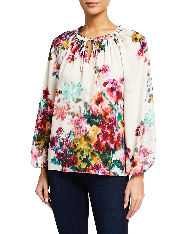 Priscilla Floral Print Blouson-Sleeve Top