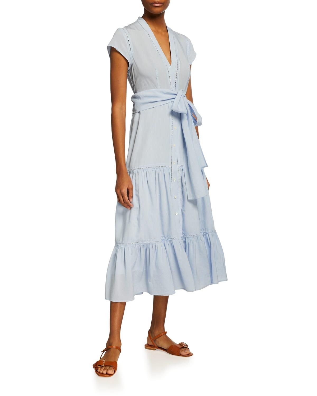Amira V-Neck Tiered Ruffle-Hem Dress