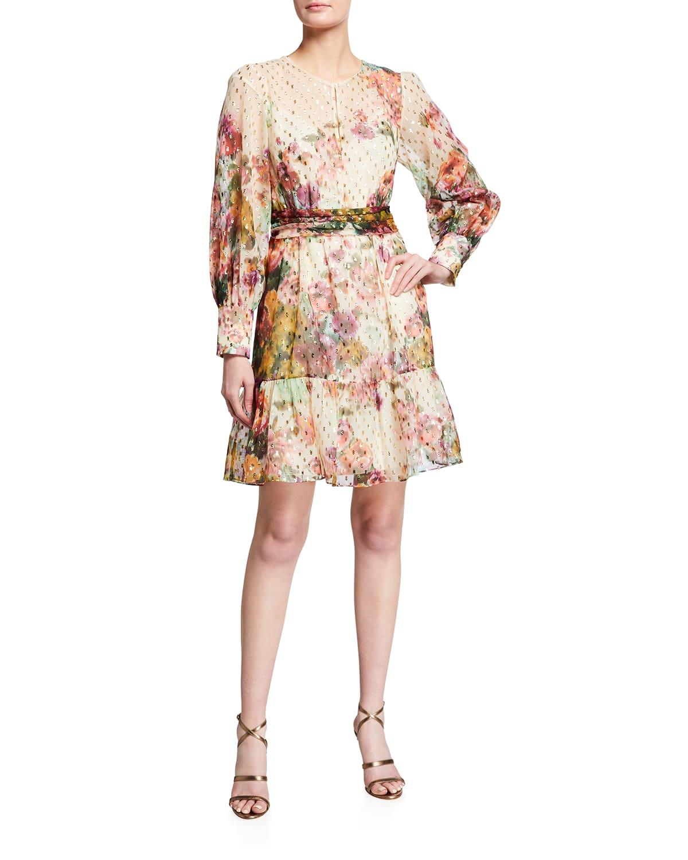 Pauline Floral Metallic Clip-Dot Dress