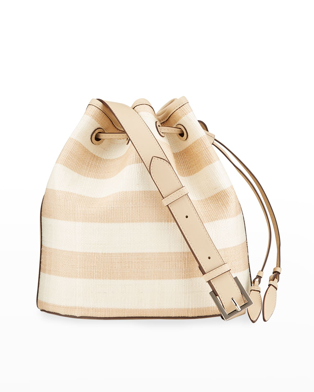 Striped Leather Large Bucket Bag