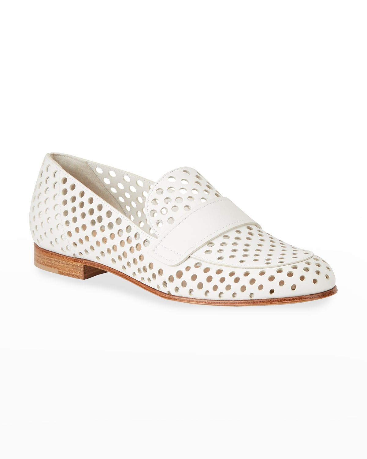 Perforated Leather Flat Loafers