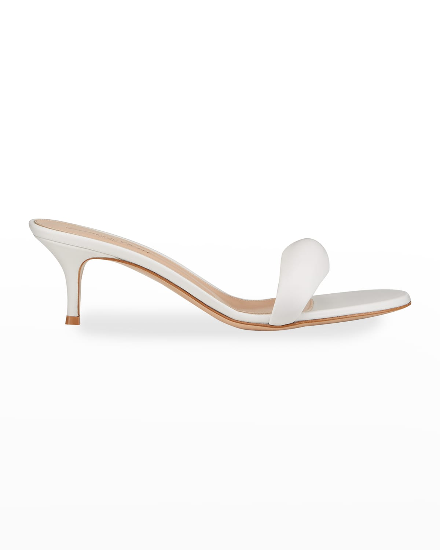 Puffy Kitten-Heel Slide Sandals