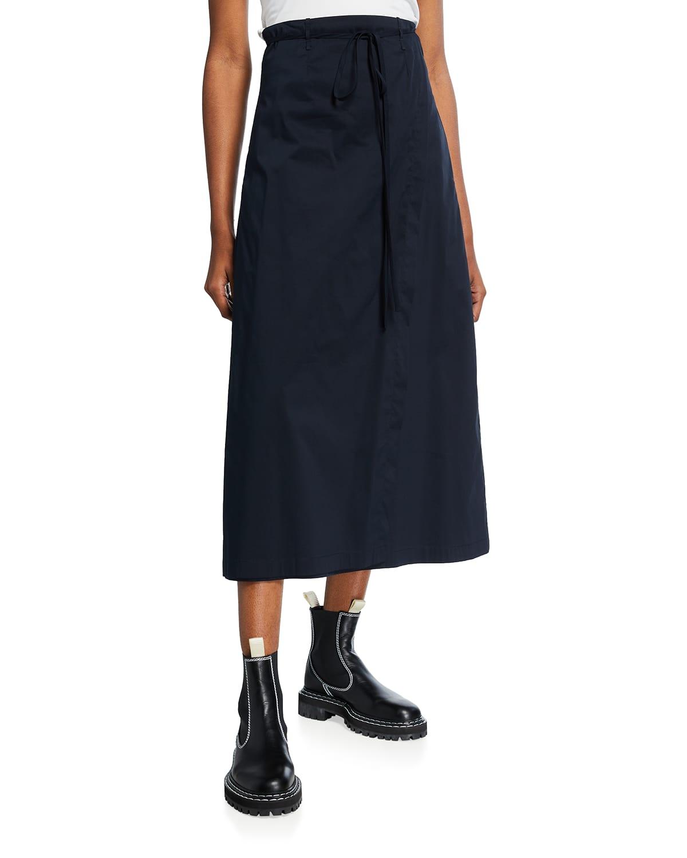 Heidi Cotton-Blend Midi Wrap Skirt