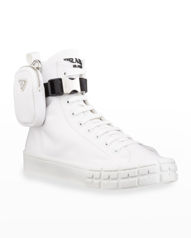 Men's Wheel Re-Nylon High-Top Sneakers with Zip Pouch