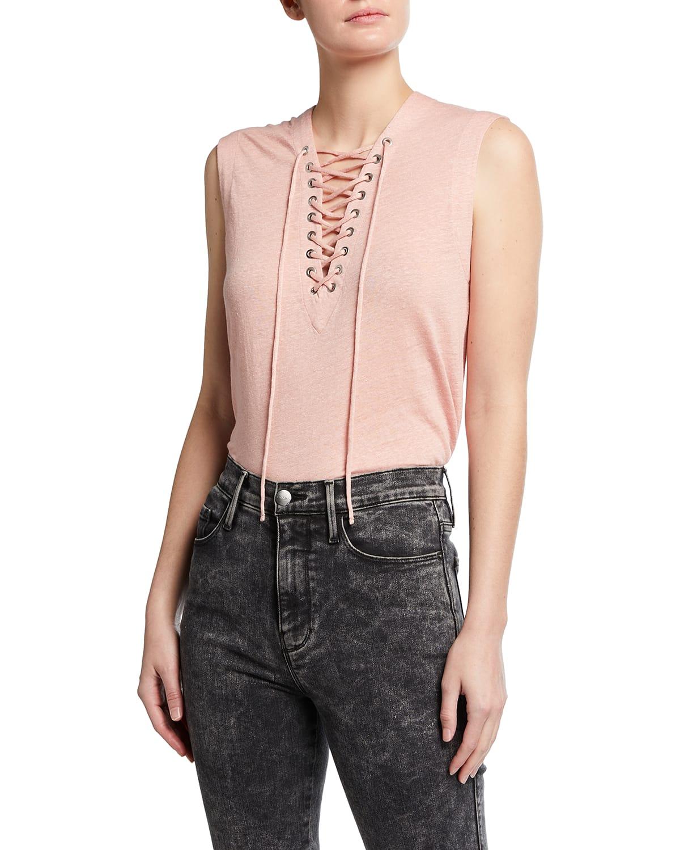 Handrea Linen Lace-Up Top
