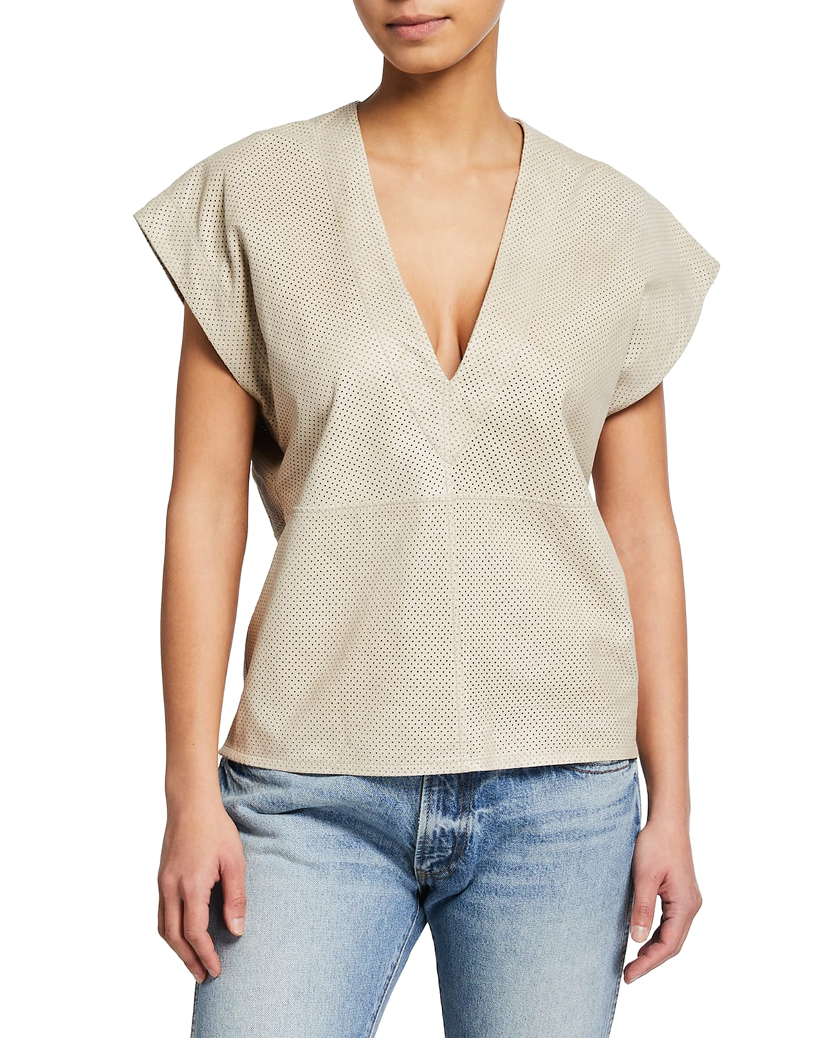 Perforated Leather V-Neck Top