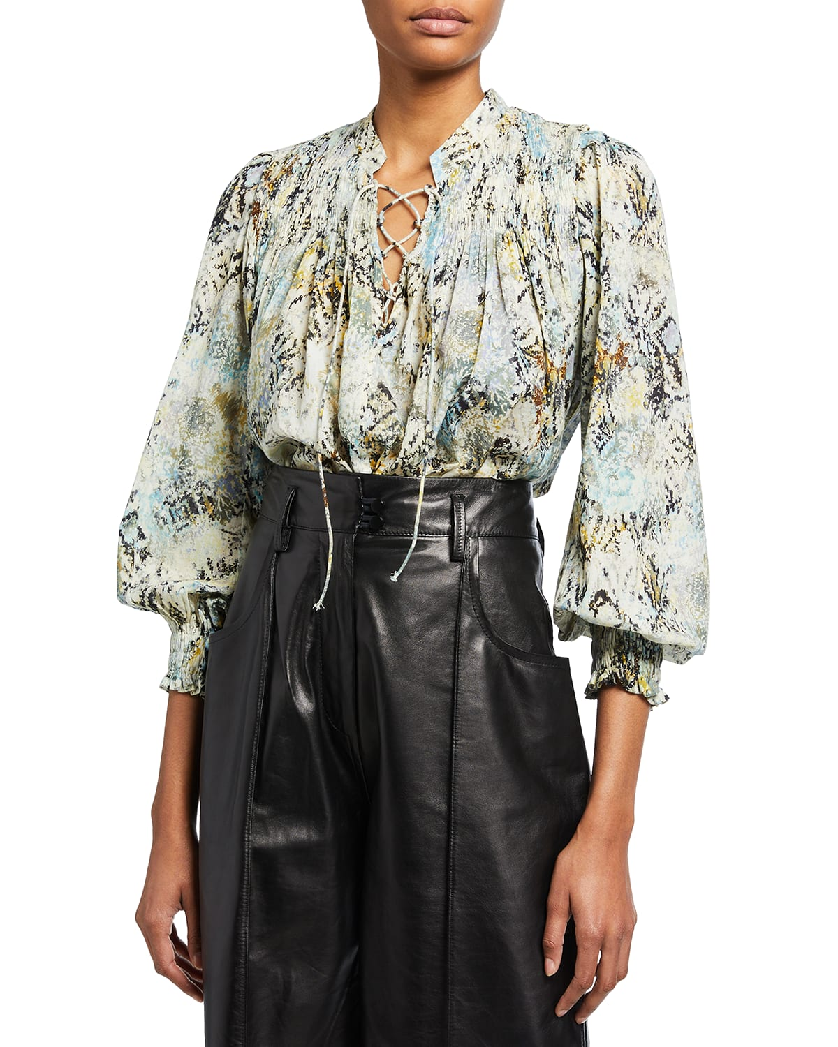Calli Abstract Printed Lace-Up Top