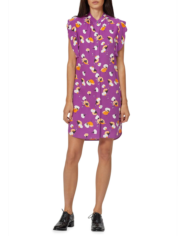 Lorainna Floral Cap-Sleeve Silk Dress