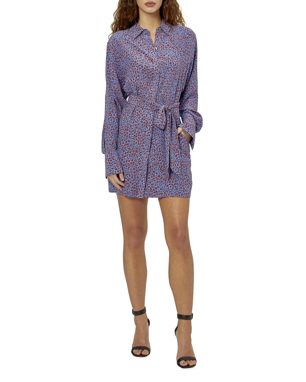 Sennet Long-Sleeve Silk Shirtdress