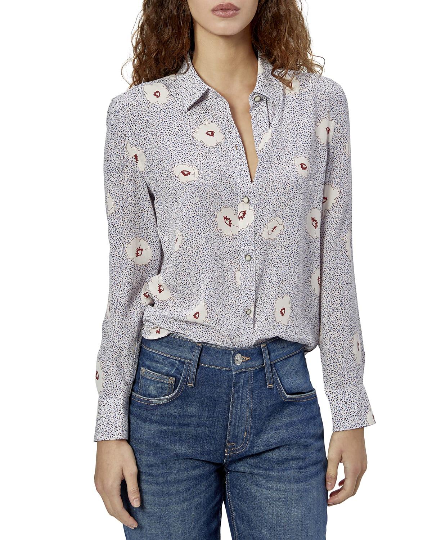 Leema Floral Silk Collared Shirt