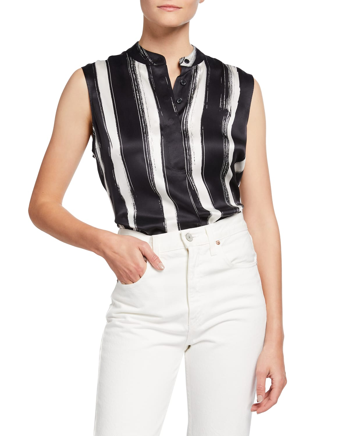 Therese Striped Silk Top