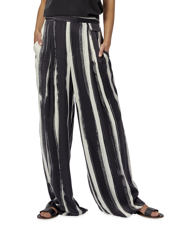 Saganne Striped Silk Pants