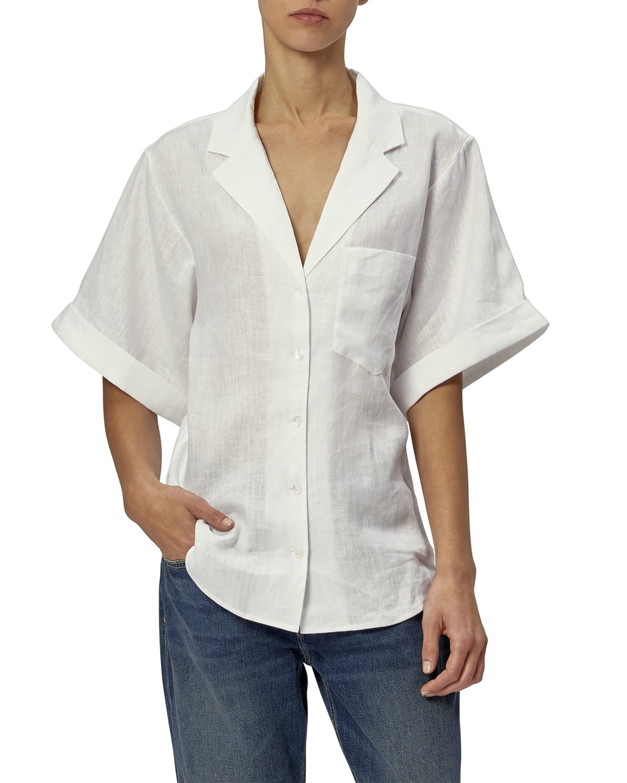 Celeme Button-Down Linen Gauze Shirt