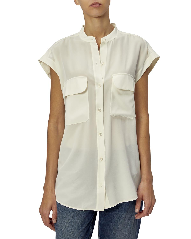 Covisa Short-Sleeve Collared Silk Top