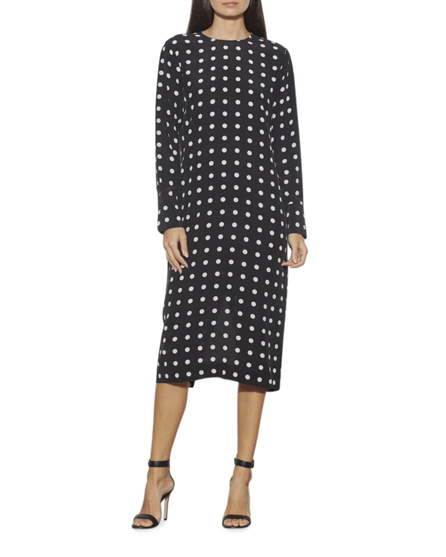 Nadaleine Polka-Dot Long-Sleeve Silk Dress