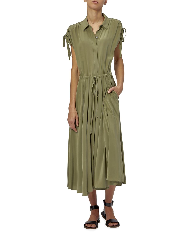 Didier Short-Sleeve Collared Silk Dress