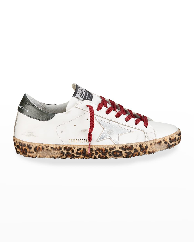 Men's Super Star Cheetah-Print Calf Hair Sole Low-Top Sneakers