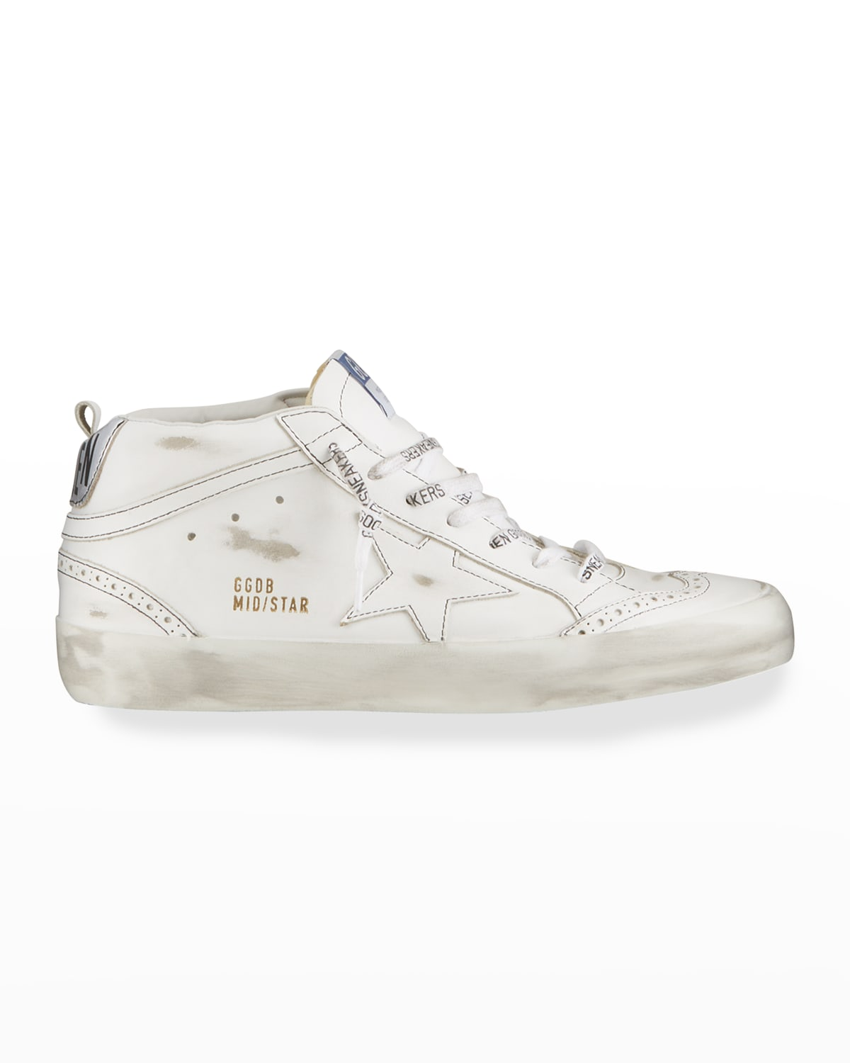 Men's Mid Star Distressed Leather Sneakers