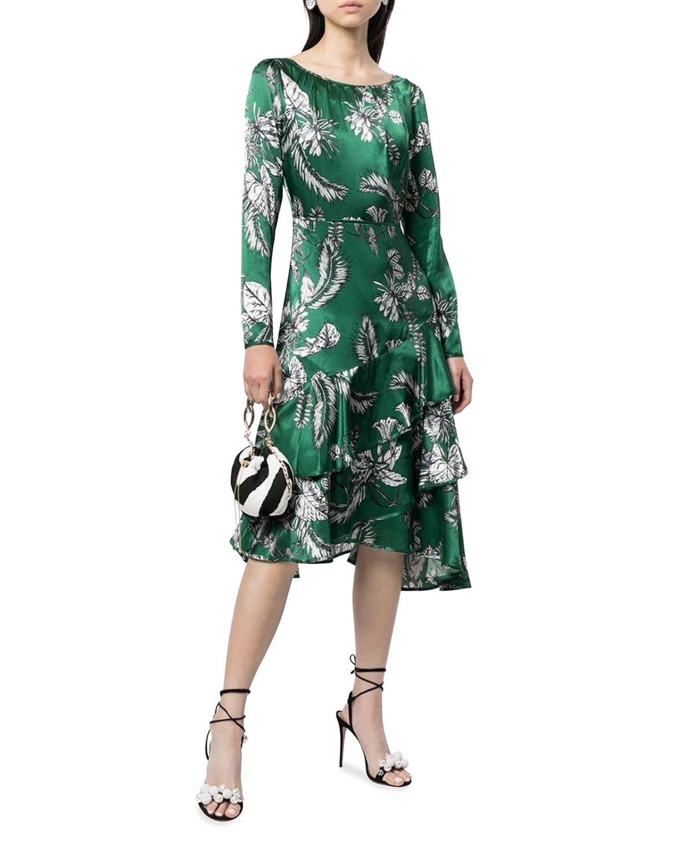 Long-Sleeve Asymmetric Tiered Flounce Dress