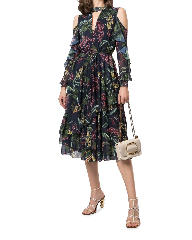 Floral-Print Cold-Shoulder Ruffle Midi Dress
