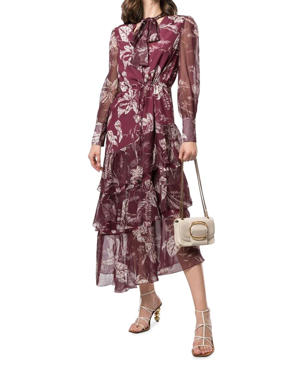 Tie-Neck Asymmetric Tiered Ruffle Dress
