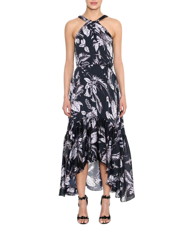 Floral Charmeuse High-Low Ruffle-Hem Halter Dress
