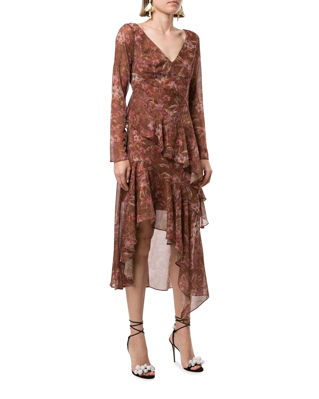 Floral Chiffon Asymmetric Ruffle Dress