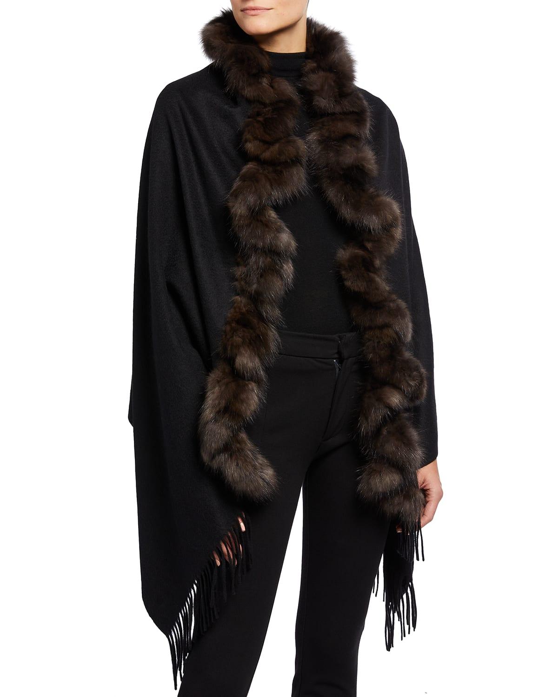 Cashmere Fringe Stole with Sable Fur Trim