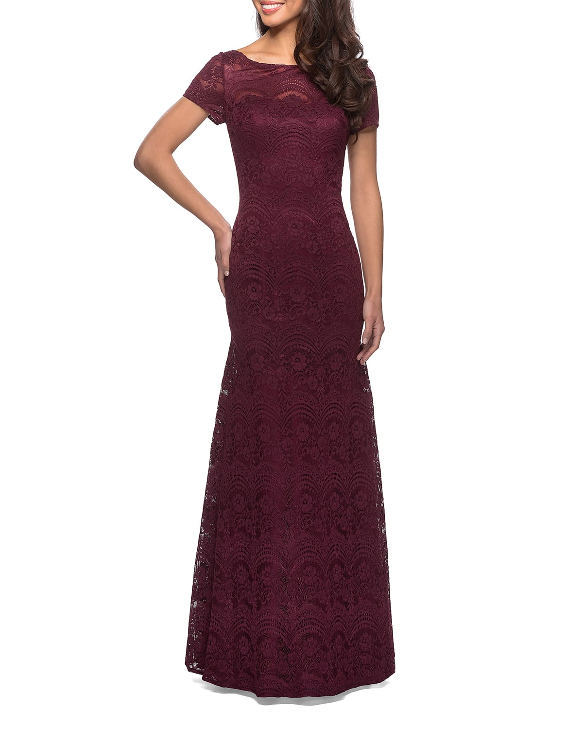 Floral Lace Short-Sleeve Gown