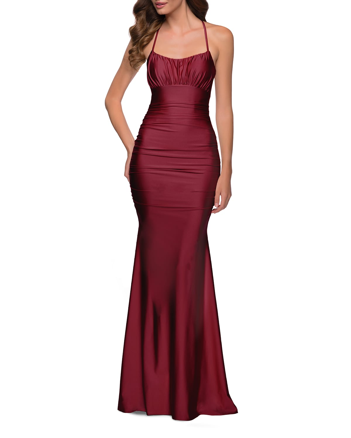 Shiny Jersey Halter Mermaid Gown