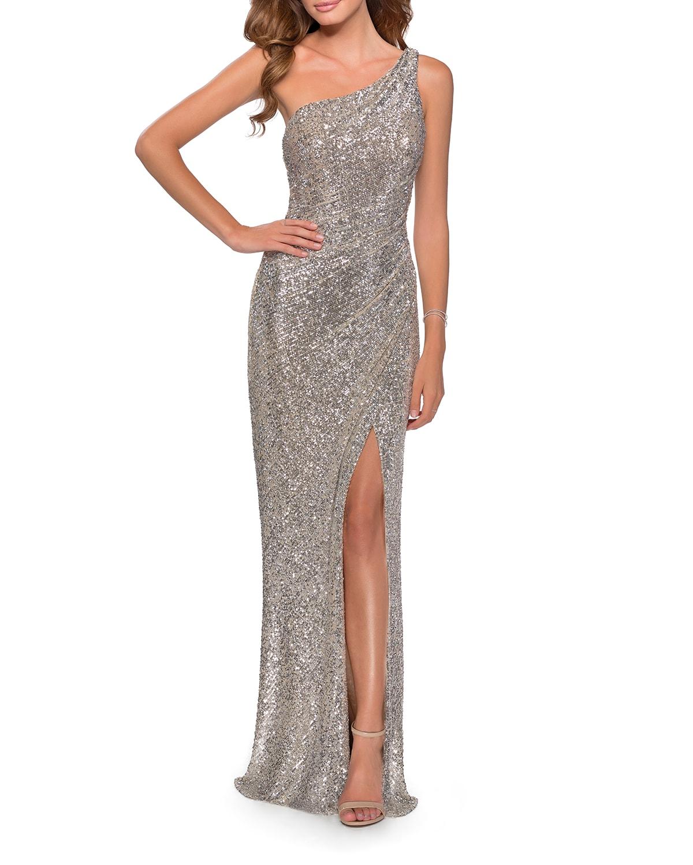 Sequin One-Shoulder Column Gown