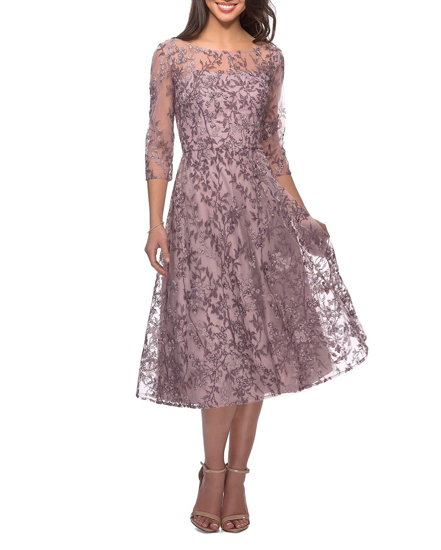 Floral Lace Illusion 3/4-Sleeve Tea-Length Dress