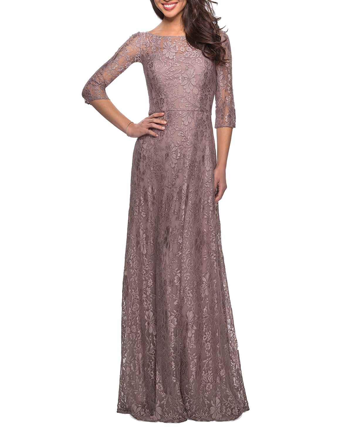 Floral Lace 3/4-Sleeve A-Line Gown