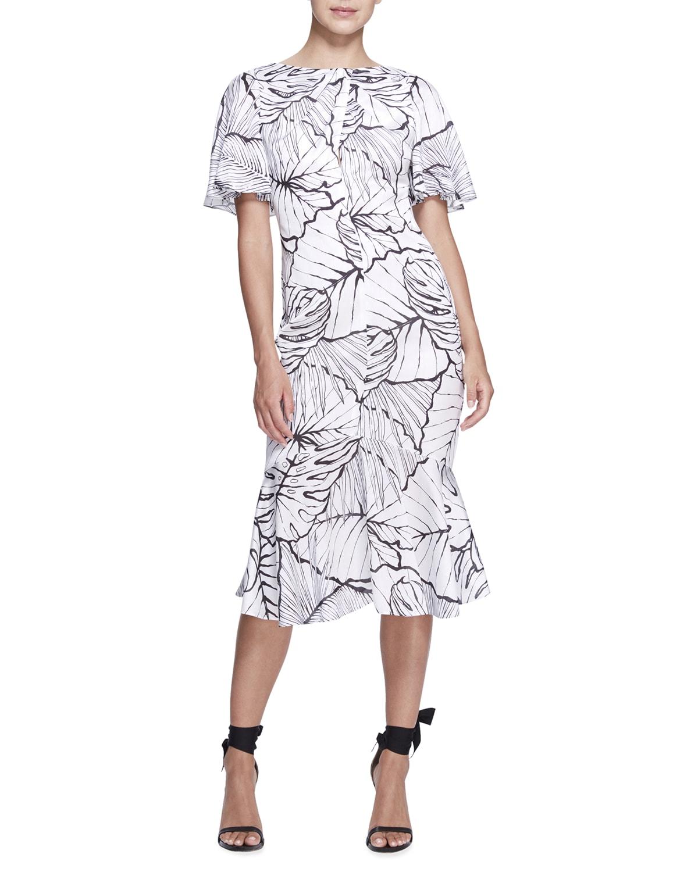 Leaf-Print Flutter-Sleeve Sheath Dress
