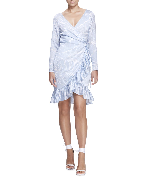 Leaf-Print Ruffle-Hem Wrap Dress