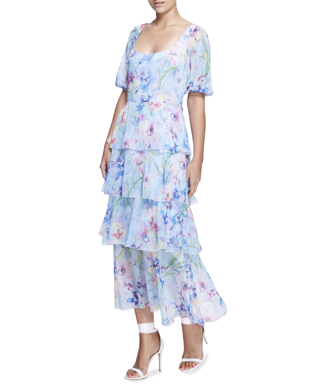 Tiered Floral Chiffon Puff-Sleeve Dress