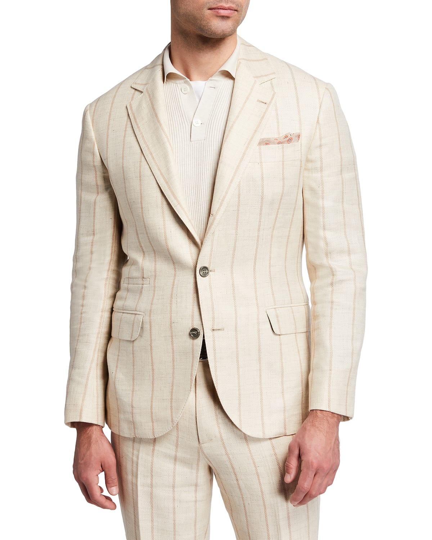 Men's Wide-Stripe Linen-Blend Suit