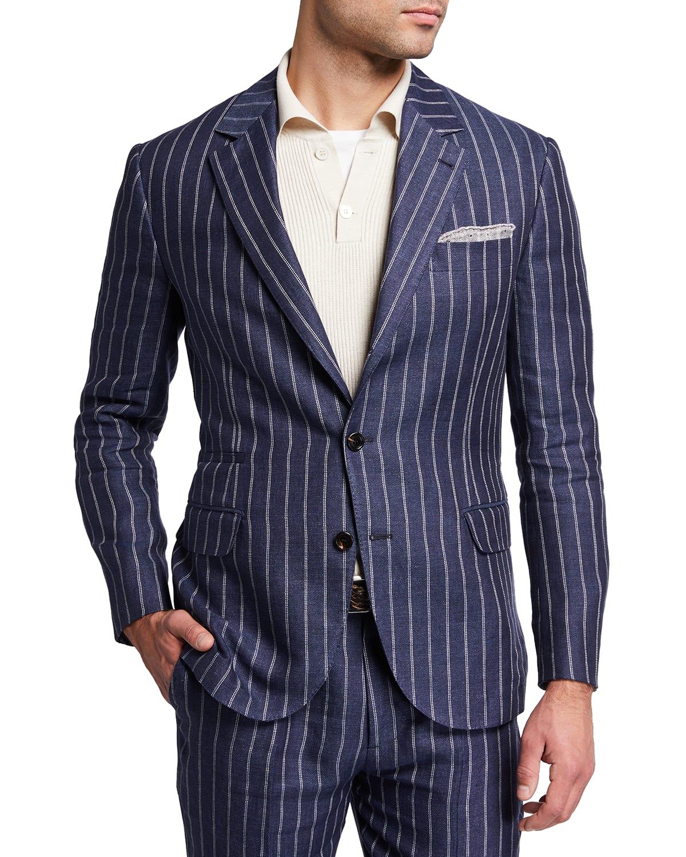 Men's Cadet Double-Stripe Linen Suit