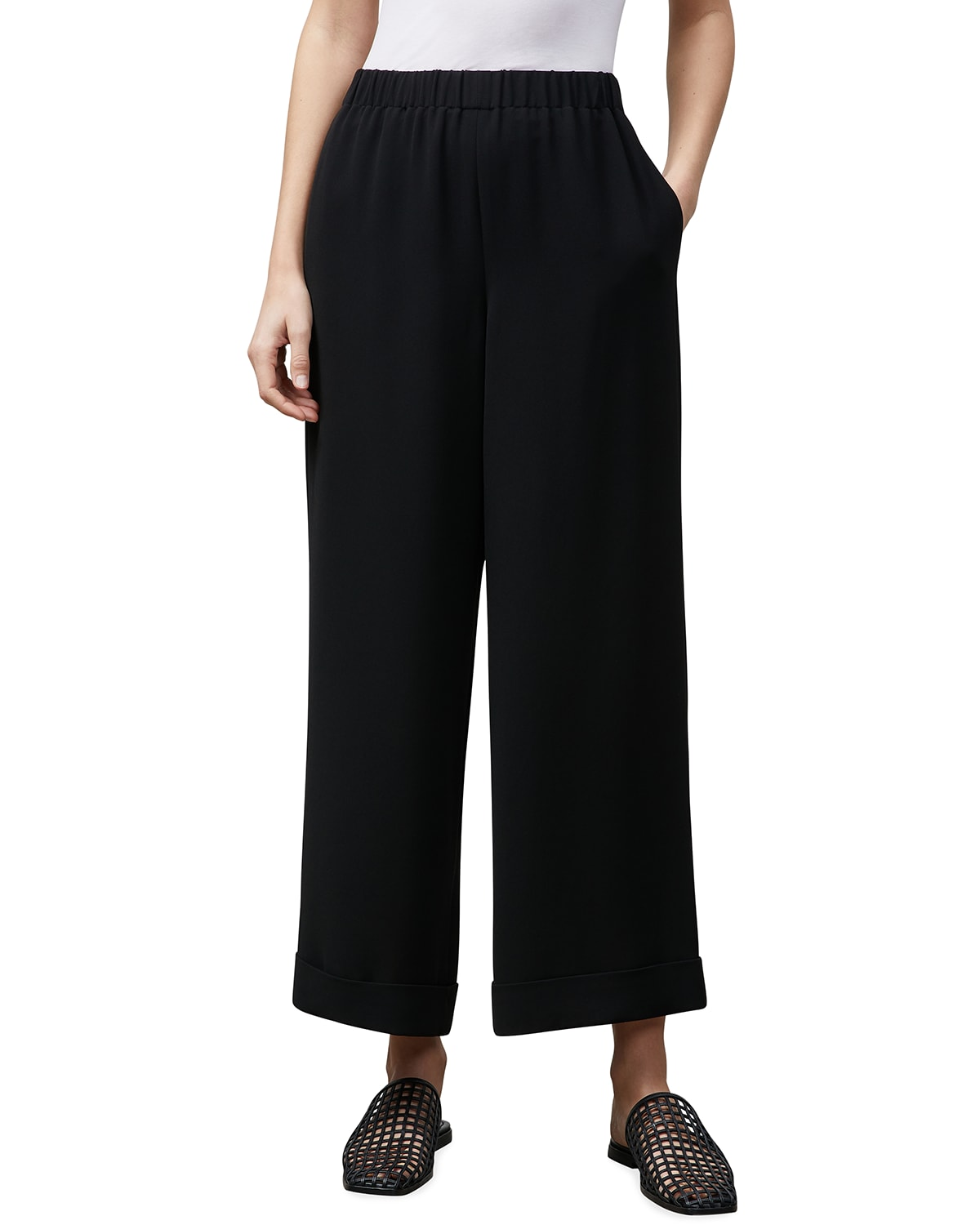 Riverside Pull-On Ankle Pants with Cuffs