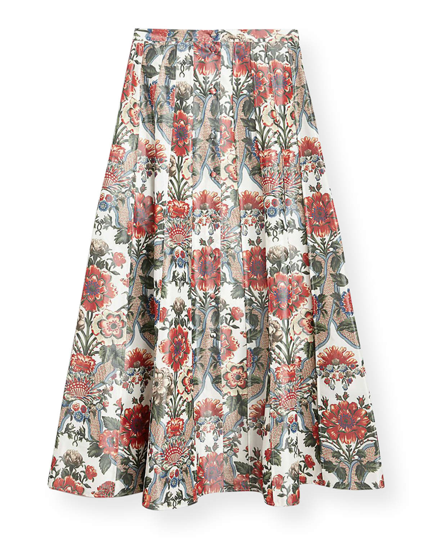 Pleated Floral-Print Cotton Midi Skirt