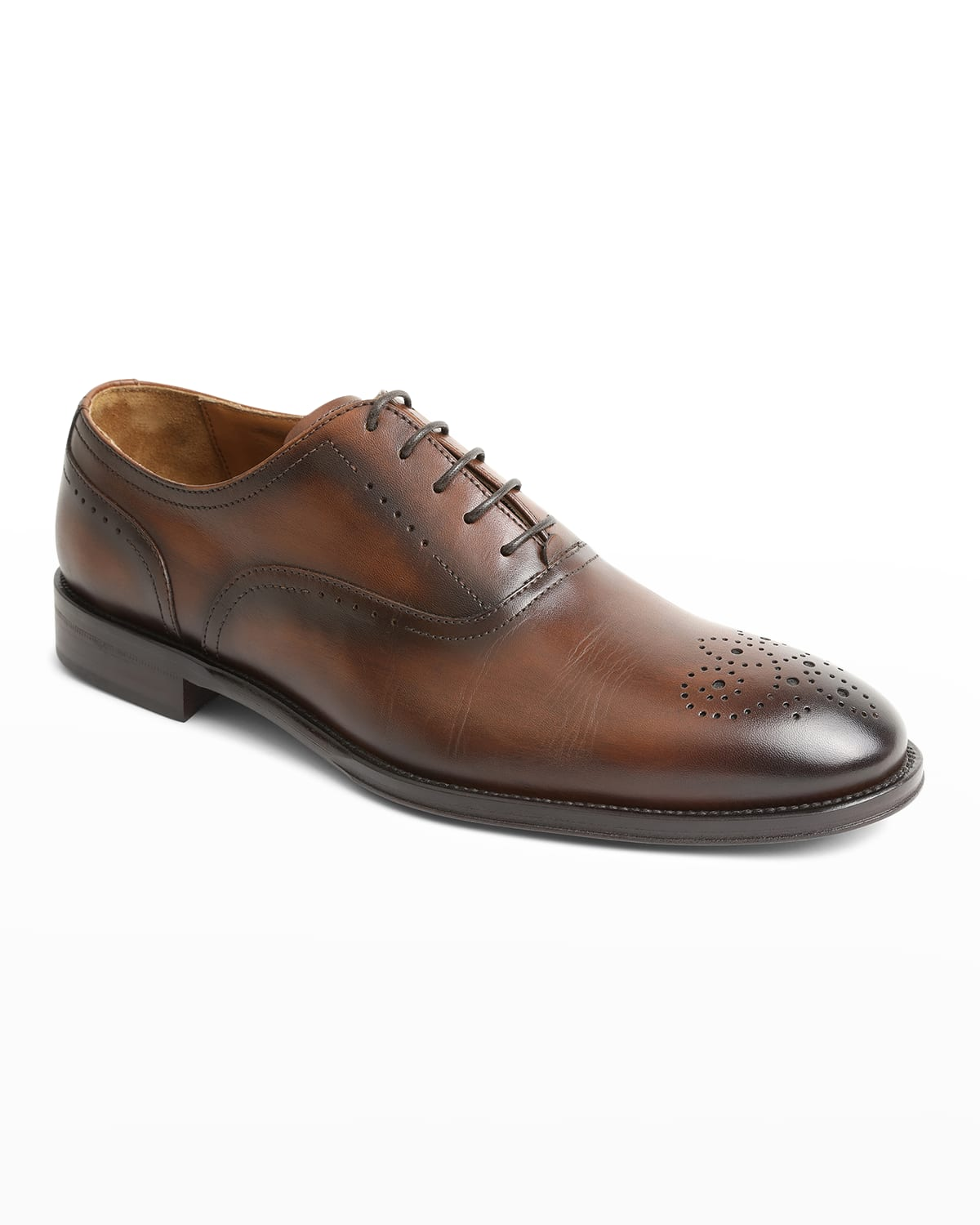 Arno Burnished Leather Lace-Up Oxfords