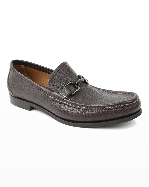 Men's Enrico Pebbled Leather Loafers w/ Bit-Strap