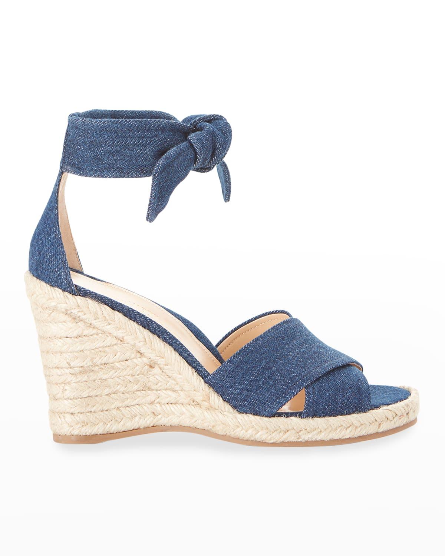 Leah Denim Wedge Espadrille Sandals