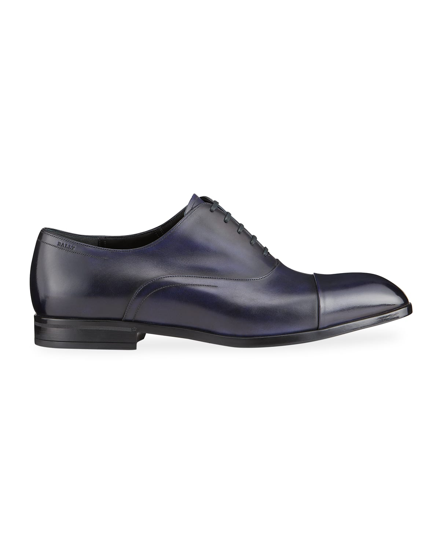 Men's Lizzar Cap-Toe Calfskin Lace-Up Oxfords