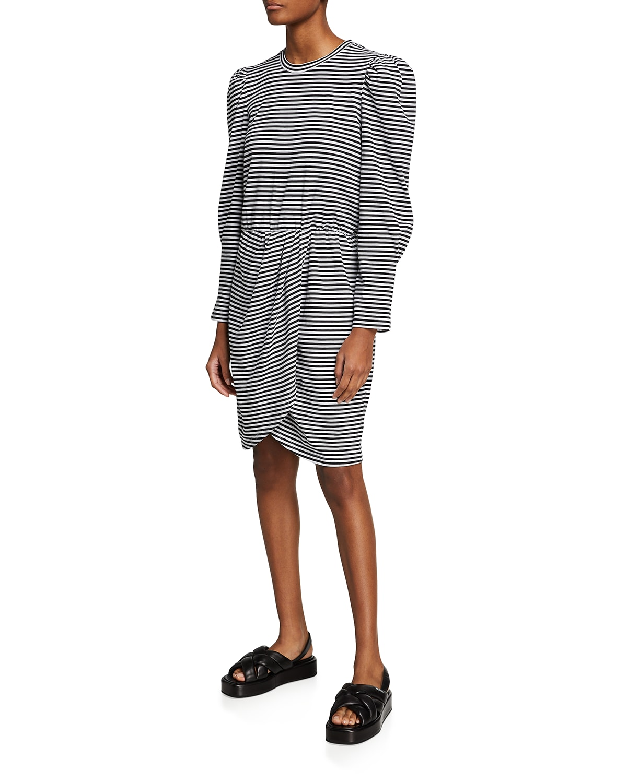 Nyla Striped Puff-Sleeve Wrap Dress