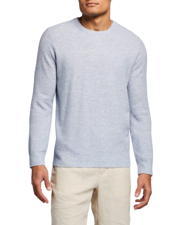 Men's Tuck Cashmere-Linen Sweater